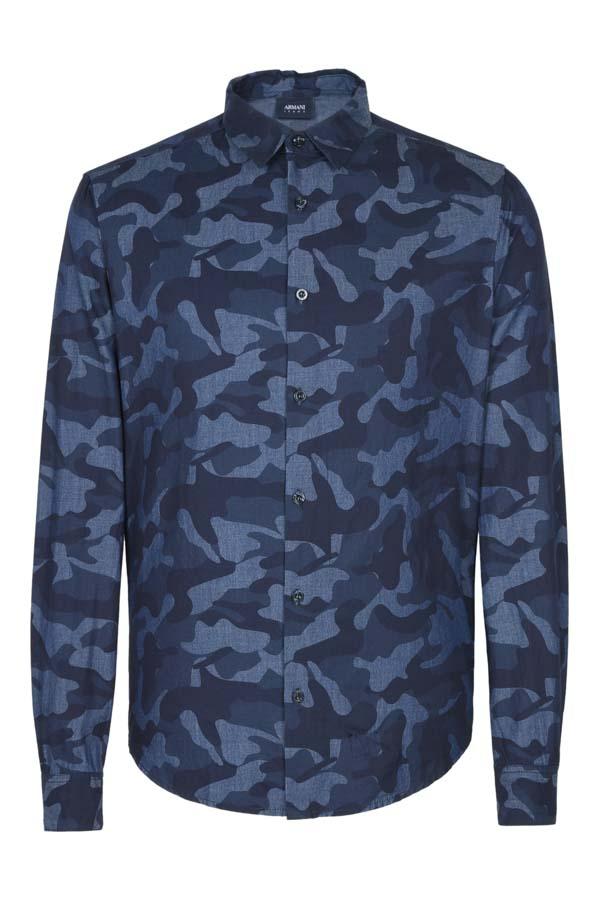 Armani jeans camicia da uomo in fantasia camouflage