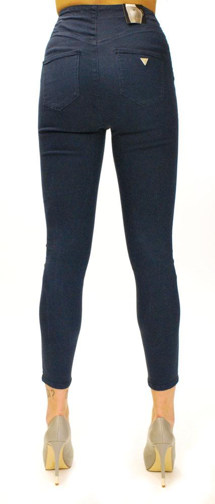 Pantalone blu a vita alta Guess con strappi visto da dietro