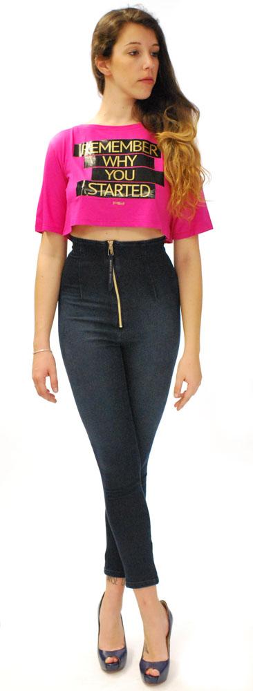 jeans Denny Rose vita alta con zip.1