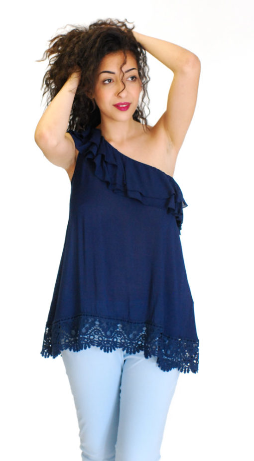 Guess top blu con pizzo-1