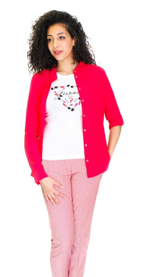 Armani jeans pantalone donna in micro fantasia rossa
