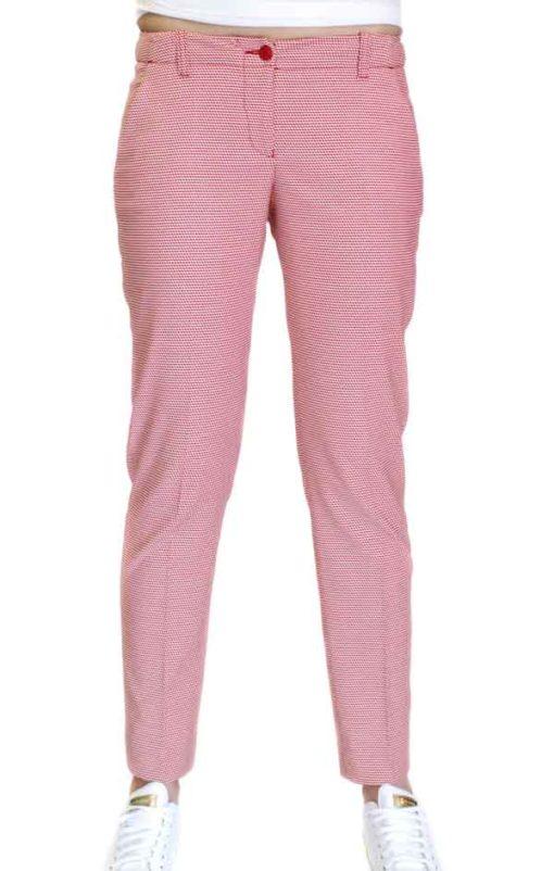 Armani jeans pantalone donna in micro fantasia rossa-1