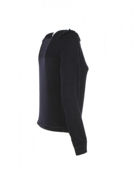Maglia blu donna Armani jeans misto lana con voulant sulle spalle-3