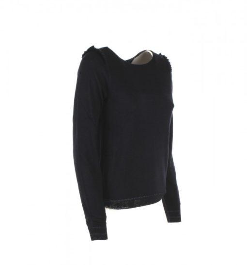 Maglia blu donna Armani jeans misto lana con voulant sulle spalle-1