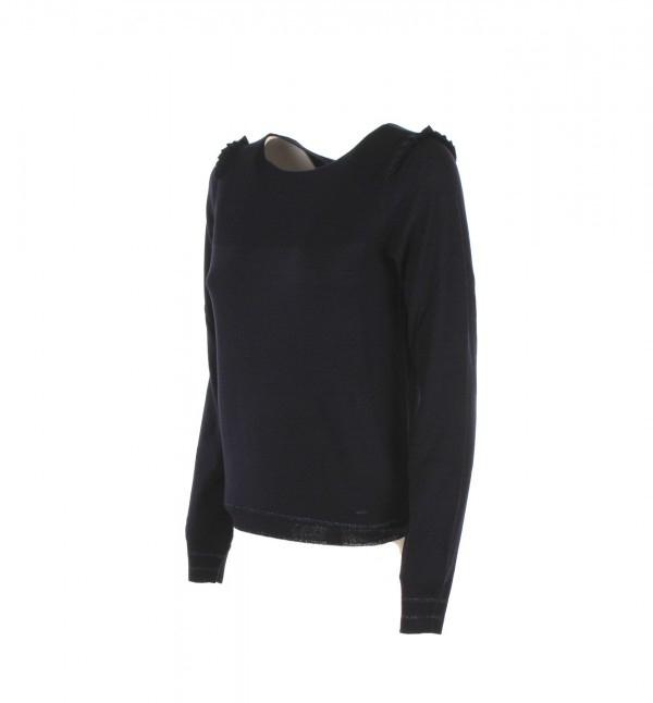 Maglia blu donna Armani jeans misto lana con voulant sulle spalle-2