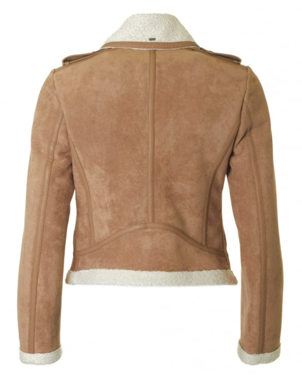 Montone ecologico beige Armani jeans donna visto da dietro
