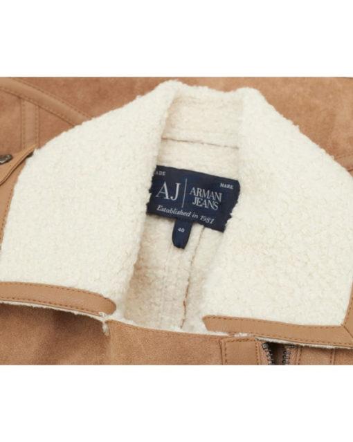Dettaglio collo montone ecologico beige Armani jeans donna