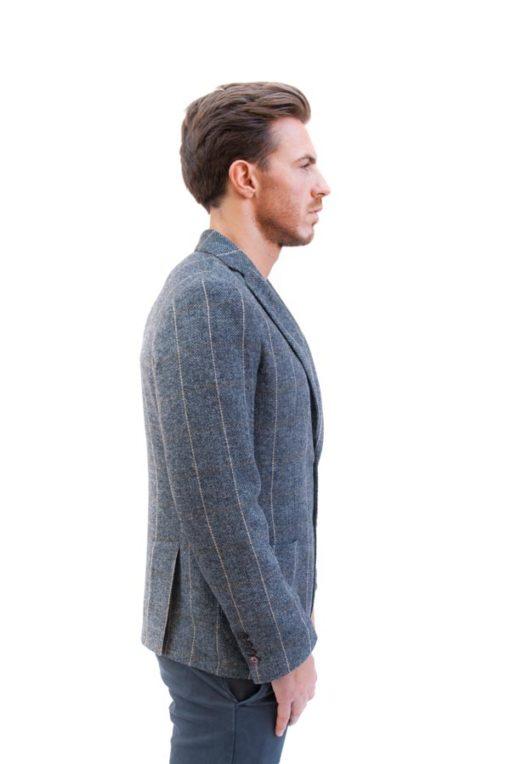 BESILENT giacca uomo grigia spigata in panno-1