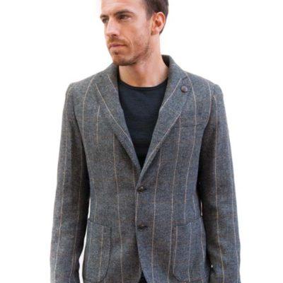 BESILENT giacca uomo grigia spigata in panno