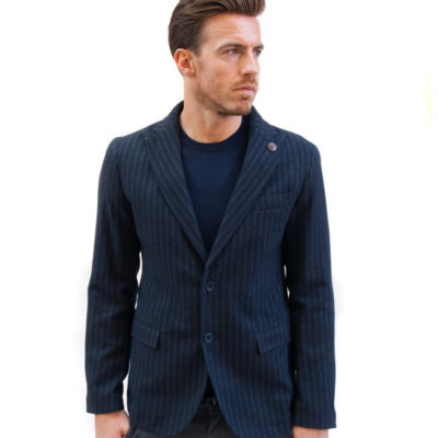 BESILENT giacca uomo blu con riga grigia