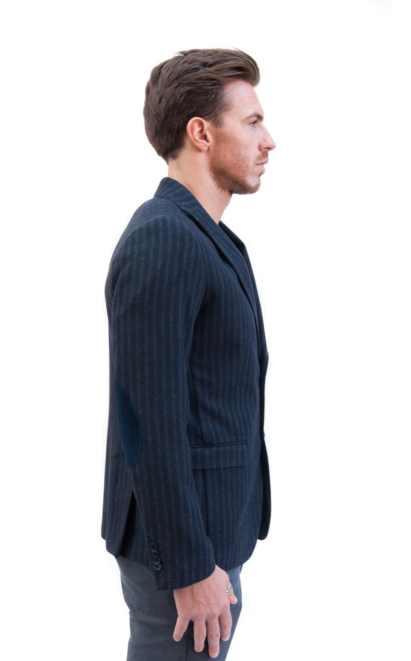 BESILENT giacca uomo blu con riga grigia-2