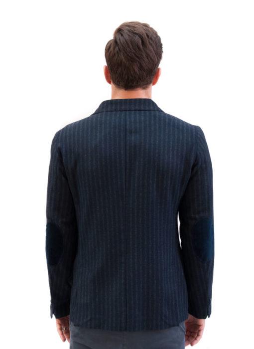 BESILENT giacca uomo blu con riga grigia vista da dietro