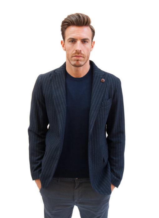 BESILENT giacca uomo blu con riga grigia-1