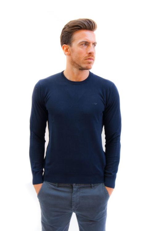 Maglioncino tinta unita blu da uomo Armani jeans