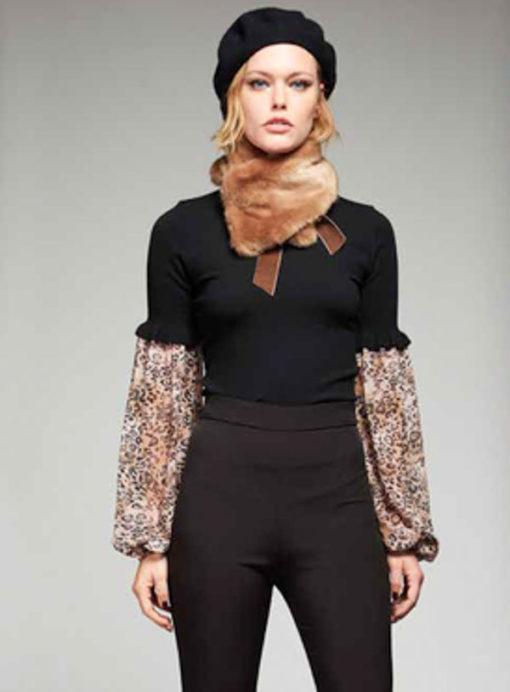 DENNY ROSE maglia lupetto nero con maniche leopardate