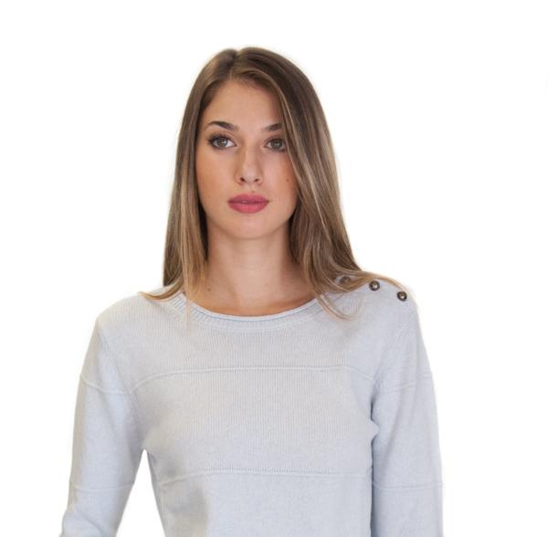 ARMANI maglia donna azzurra con bottoncini sulla spalla-1