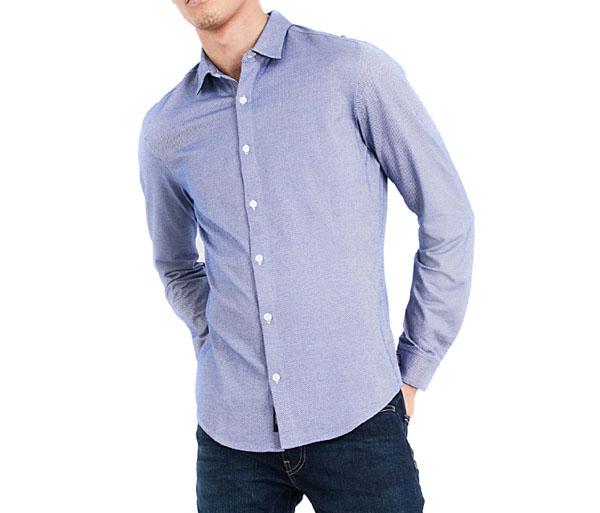 ARMANI camicia azzurra in maglia da uomo