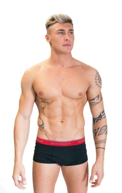 Emporio Armani uomo 2 pack boxer nero elastico rosso