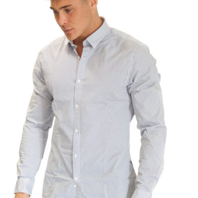 camicia uomo GUESS bianca microfantasia
