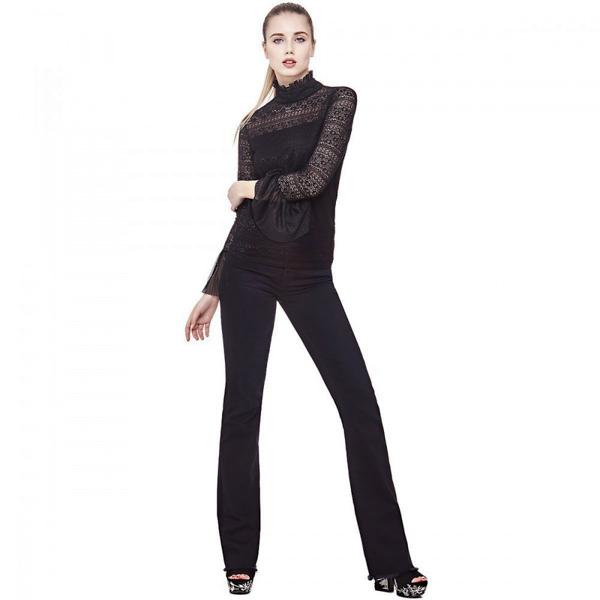 GUESS donna maglietta pizzo manica lunga nera-4