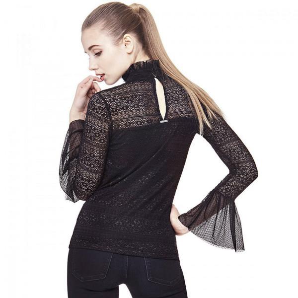 GUESS donna maglietta pizzo manica lunga nera-1