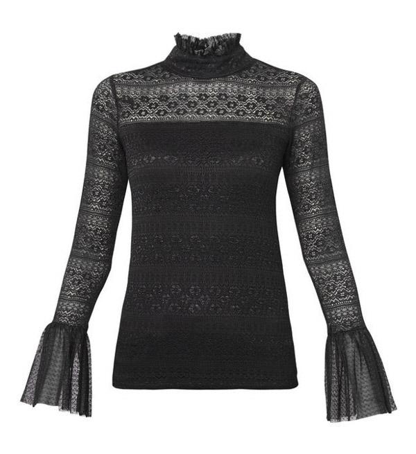 GUESS donna maglietta pizzo manica lunga nera-2