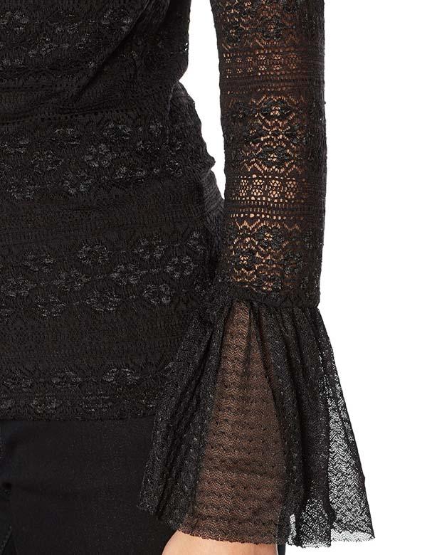 GUESS donna maglietta pizzo manica lunga nera-3