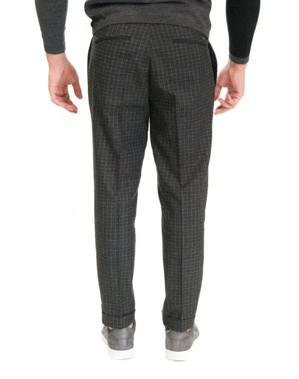 GUESS pantalone a quadretti grigi e neri da uomo-1