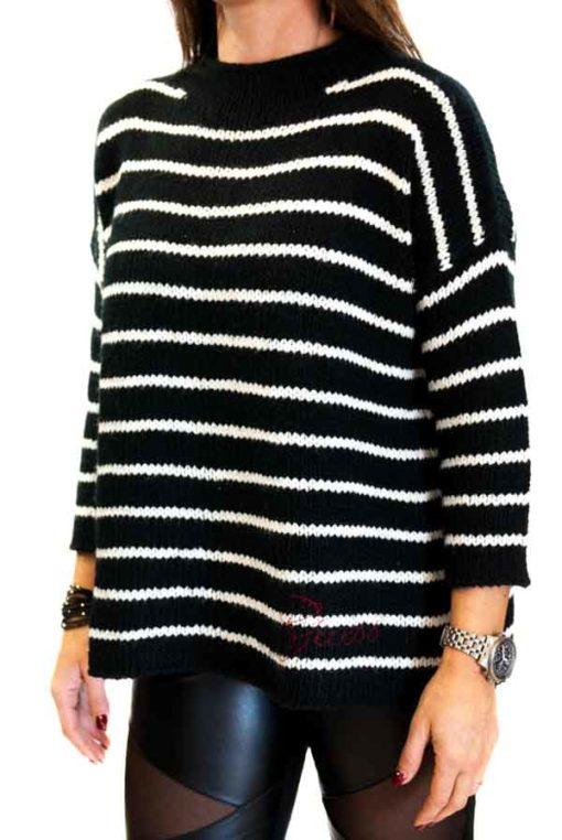 GUESS maglione donna rigato bottoni sulla schiena