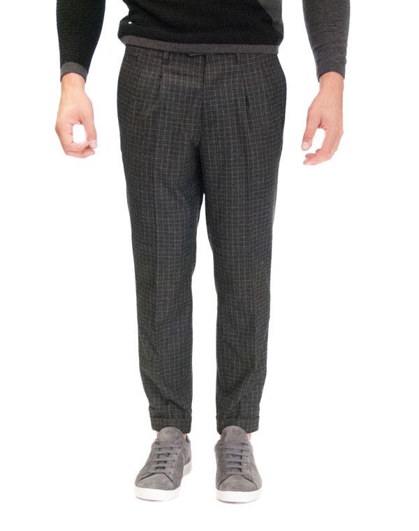 GUESS pantalone a quadretti grigi e neri da uomo