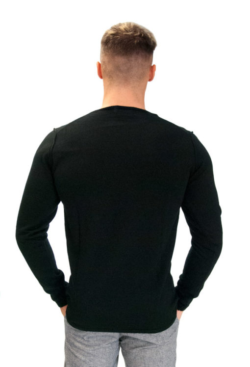 BESILENT- maglione girocollo nero taglio vivo-2