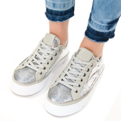 ARMANI EXCHANGE sneakers da donna con paillettes argento