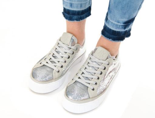 ARMANI EXCHANGE sneakers da donna con paillettes argento