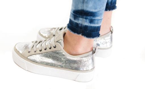 ARMANI EXCHANGE sneakers da donna con paillettes argento-2