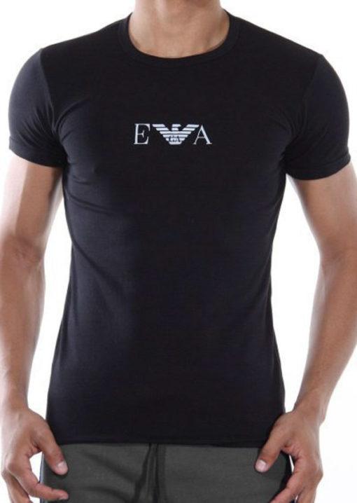 t-shirt nera Emporio Armani con piccolo logo in tessuto elasticizzato