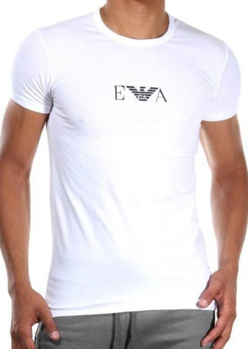 t-shirt bianca Emporio Armani con piccolo logo in tessuto elasticizzato