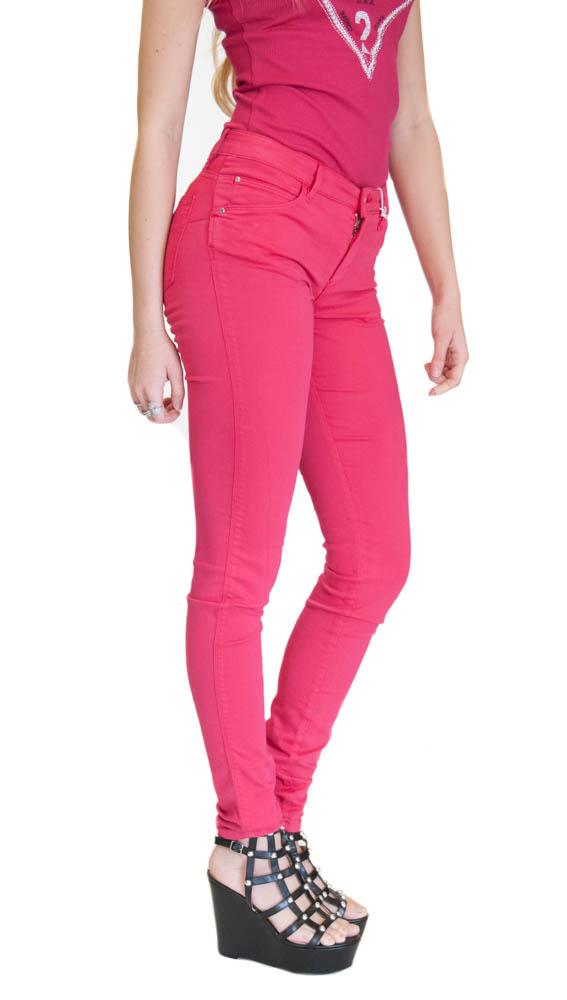 jeans GUESS colorato in tessuto elasticizzato e gamba slim-1