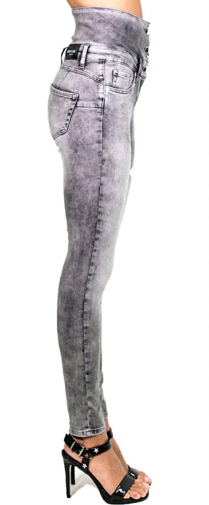 Jeans grigio a vita alta Denny Rose -2