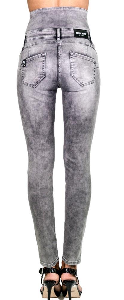 Jeans grigio a vita alta Denny Rose -3
