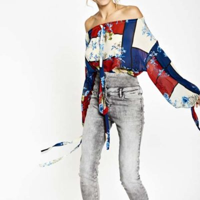 Jeans grigio a vita alta Denny Rose