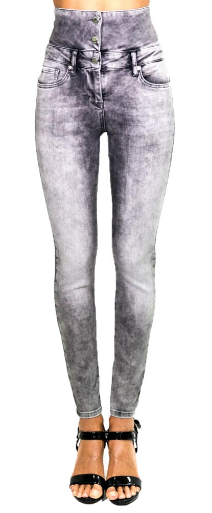 Jeans grigio a vita alta Denny Rose -1