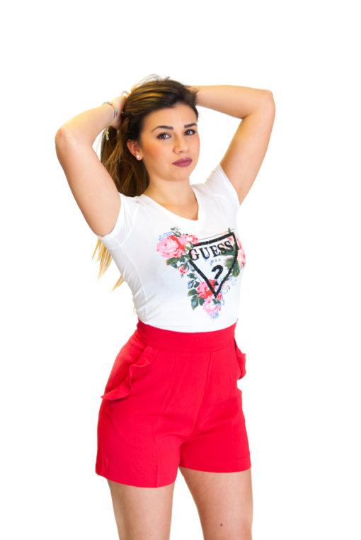 Guess t-shirt con stampa logo e fiori e pantaloncino