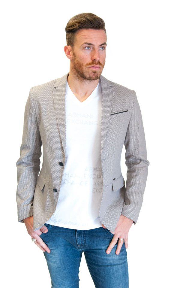 GUESS giacca da uomo in microfantasia sul beige
