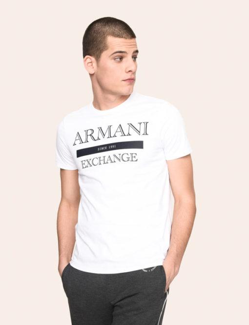 ARMANI exchange maglietta bianca da uomo con scritta logo-1