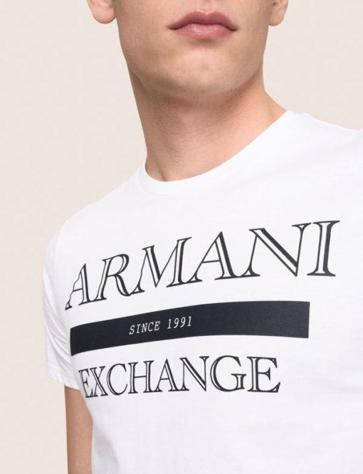 ARMANI exchange maglietta bianca da uomo con scritta logo