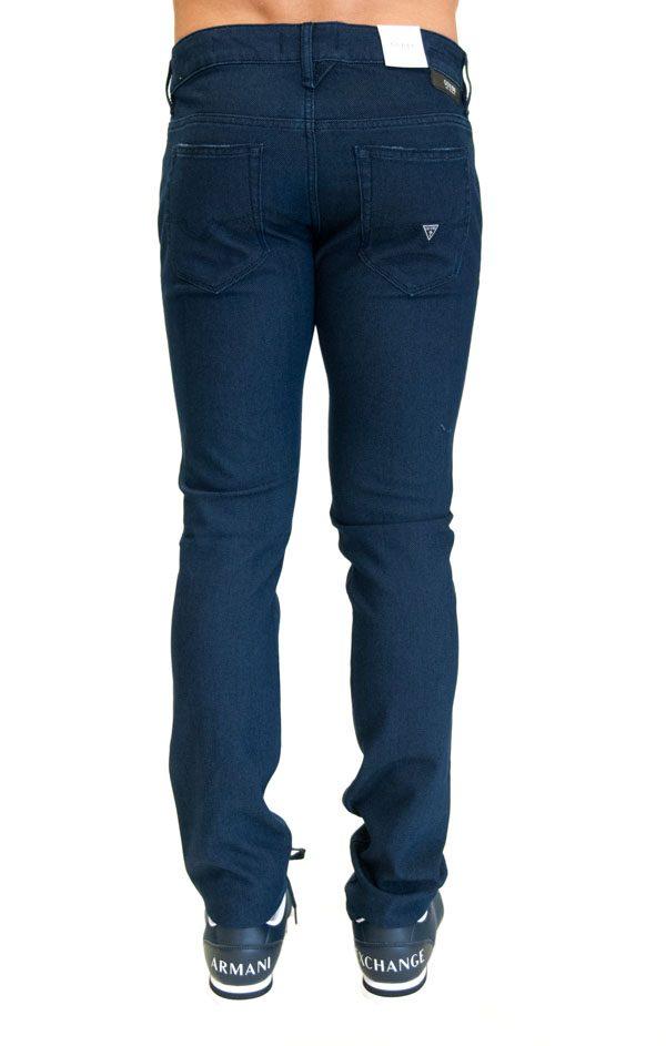 GUESS pantalone blu da uomo con piccola fantasia in tinta -1