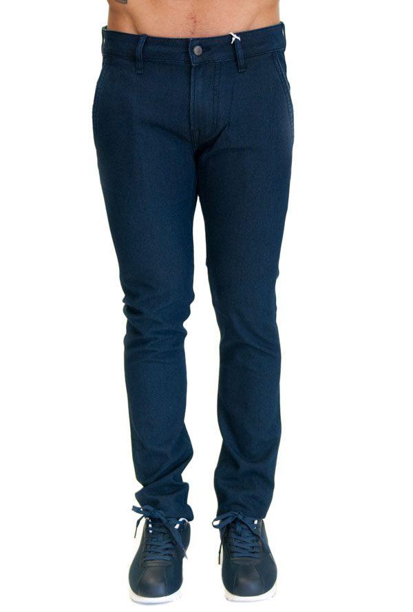 GUESS pantalone blu da uomo con piccola fantasia in tinta
