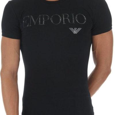 Emporio Armani t-shirt con scritta in tessuto stretch