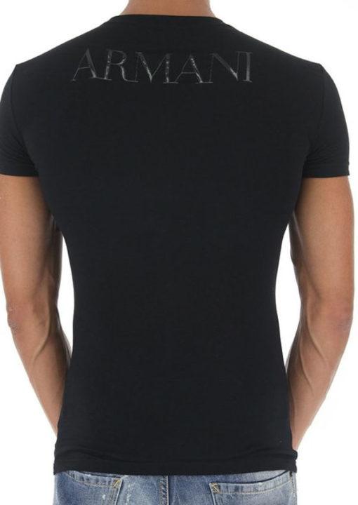 Emporio Armani t-shirt con scritta in tessuto stretch -2