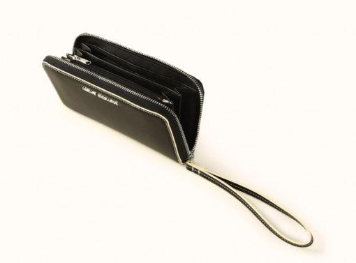 Armani Exchange portafoglio nero da donna con zip-1